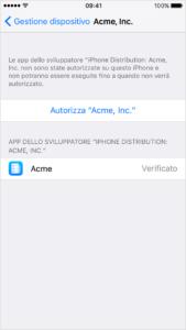 Autorizzare app su iPhone